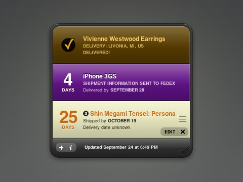 Delivery Status widget